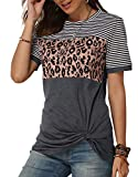 Camiseta de Mujer Rayas Manga Corta Casual Verano Tops Cuello Redondo T-Shirt Leopardo Suelto Fiesta Cóctel Trabajo Moda Ropa de Mujer Gris M-12