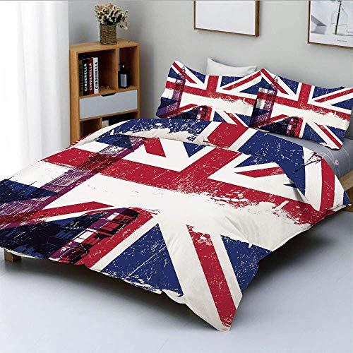 Set copripiumino, bandiera britannica invecchiato sgangherato Big Ben Double Decker Cultura campestre Punto di riferimento storico Decorativo Set di biancheria da letto 3 pezzi con 2 fodere per cuscin