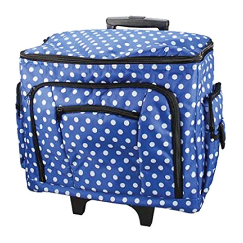 Large Sewing Machine Trolley Bag on Wheels in a Durable Navy Blue Fabric with White Polka Dots, 47 x 38 x 24cm, Birch 006108/NAVY-DOT