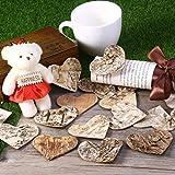 Unomor 100 Stück Holzherzen Deko Birkenherzen zum Basteln 60mm hölzerne Scheiben für Deko Hochzeit Weihnachten Valentinstag - 6
