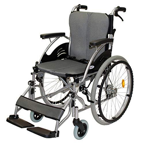 ケアテックジャパン 自走式 アルミ製 折りたたみ 車椅子 ハピネス グレー CA-10SU