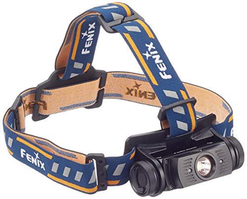 Fenix HL60R, Lámpara recargable de cabeza, color negro con azul y naranja