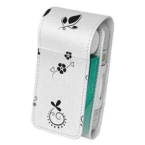 スマコレ iQOS アイコス レザーケース 【従来型/新型 2.4PLUS 両対応】 タバコ 専用 ケース カバー 合皮 カバー 収納 フラワー 白 黒 009576
