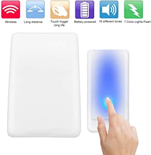 Wireless Button Door Bell, 7 Color Lights Flash + Music Doorbell, Home Wireless Music Door Bell Elderly Patient Deaf Caller, 30 to 50 Meters Use