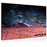 Topquadro Wandbild, Leinwandbild 70x50cm, Nacht in der Wüste, Afrika, Berge & Sterne - Keilrahmenbild, Bild auf Leinwand - Einteilig