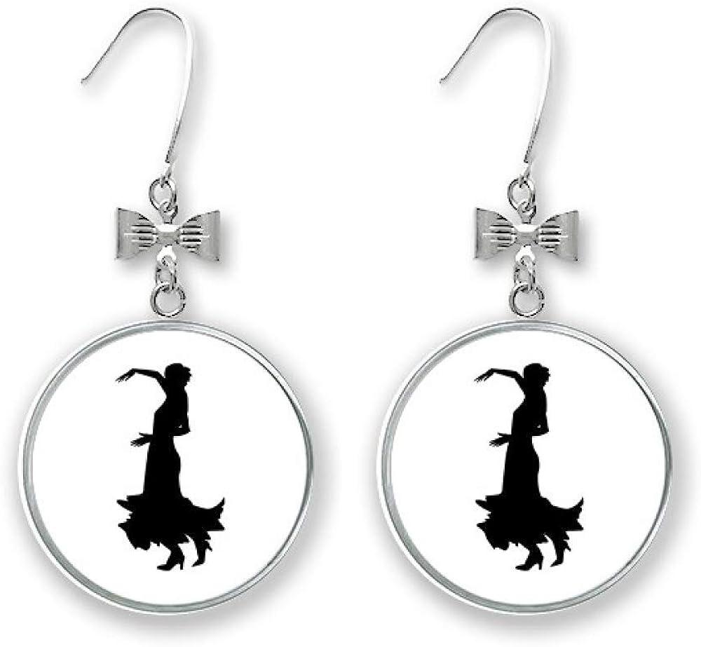 Performance Folk Dance Dancer Bow Earrings Pierced Drop New mail order Stud Hoo Max 87% OFF