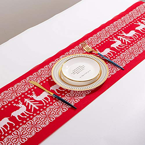 Gukasxi Camino de Mesa navideño,Camino de Mesa con Estampado de Alce de algodón y Lino para Mantel Decorativo navideño para el hogar,decoración de Mesa para Cena de Navidad 270 * 28cm (Rojo)