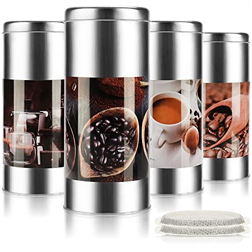 com-four® 4X Kaffeepaddosen für die Kaffeemaschine - Dekodose - Aufbewahrungsbehälter für Kaffeepads (4 Stück - Set 2)