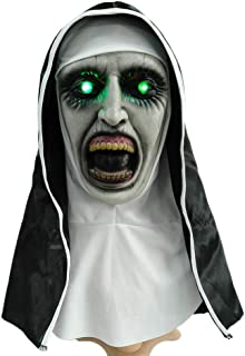 Angmile Halloween Horror Nun Mask with Light Halloween Cosplay Party Masquerade Dress Up Costume Accessories