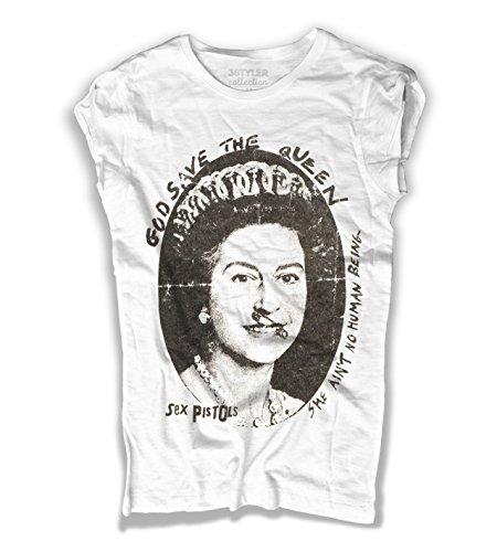 3stylercollection, Sex Pistols t-Shirt Donna – Regina Elisabetta, Colore: Bianco, Taglia: Large