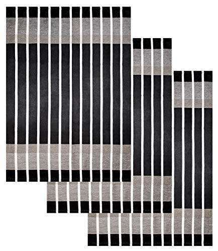 Lashuma Küchentuch 100% Baumwolle Set, Haushaltstuch Gestreift Schwarz, Geschirrtuch Größe: 50x70 cm