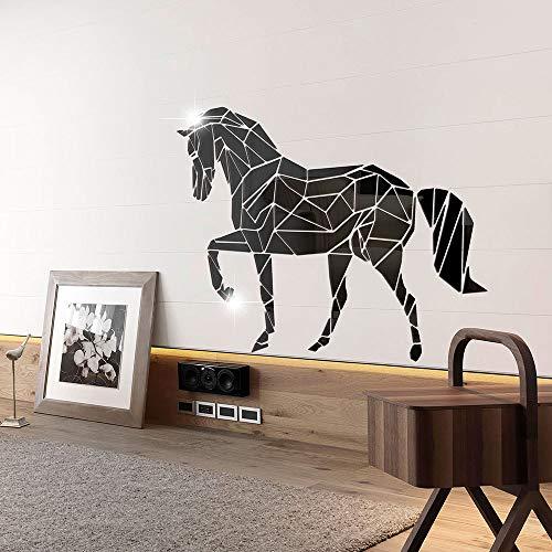 ahliwei Dreidimensionale Acryl Spiegel Paste Junma Schlafzimmer Wohnzimmer Dekoration Umweltschutz Abnehmbare Wandpaste 46x60cm schwarz