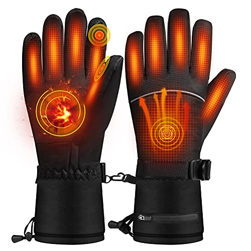 Roasemal Heated Gloves for Men Women,Rechargeable Battery Electric Heated Gloves,Heating Gloves Winter Gloves Cycling Motorcycle Skiing Climbing Gloves 3 Heating Levels Control Gloves(XL)