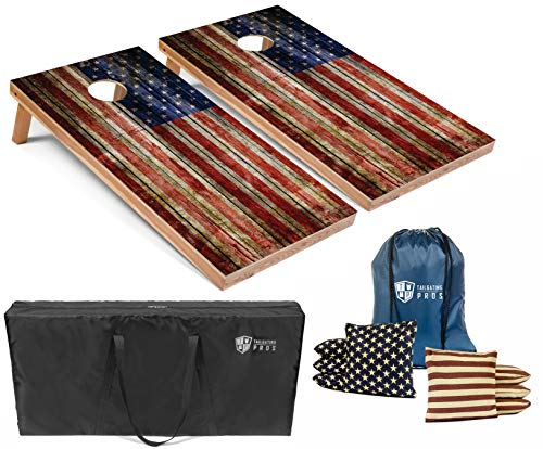 Tailgating Pros American Flag Wooden Plank Design Cornhole Board Set w/Bean Bags and Carrying Case - 4'x2' Corn Hole Toss Game - Optional LED Lights