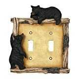 River's Edge Products Electrical Cover Plate Switch Double - Bear, Fits 2 Standard Light Switches, Screws Included