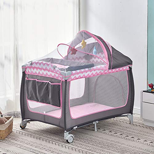 Baby Travel Cot 114 x 77 cm, Portable 2 in 1 Baby Crib Bed and Playpen with Carrying Bag, Foldable Infant Nursery Center with Wheels Changing Table Folding Mattress, Grey-Pink
