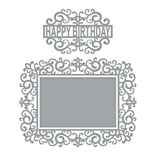 Spellbinders Shapeabilities Swirl Happy Birthday Frame Etched/Wafer Thin Dies