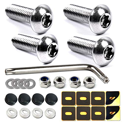 Anti Theft License Plate Screws- Tamper Proof Security Car Tag Lock Bolts Set, Stainless Steel Mounting Hardware Kit- #10 Metric M5 Machine Screws Rust Proof, Fasteners Nuts, Black Caps, Flat Head