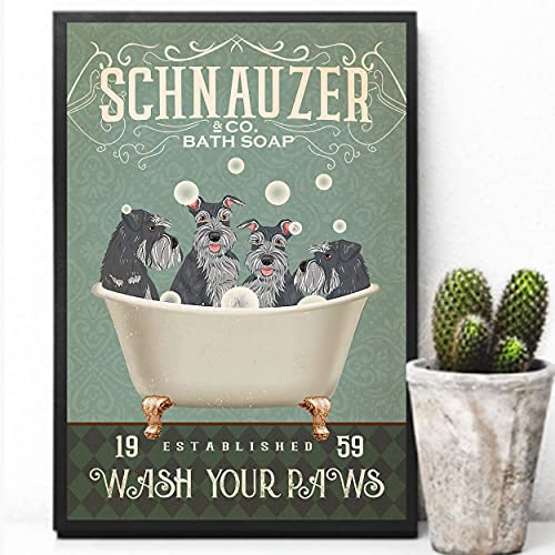 Schnauzer And Co Bath Soap Established 1959 Wash Your Paws Un Dog Lover Dog Dad&Mom Póster de regalo para el hogar, cafetería, bar, garaje, cartel de metal 20,3 x 30,5 cm
