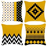 Zepolu Geometric Lemon Yellow Throw Pillow Covers 20X20 Set of 4 Decorative Pillow Covers Black Yellow Waves Dots Mosaic Square Patterns Linen Cotton Pillow Cover for Couch Home Salon Office