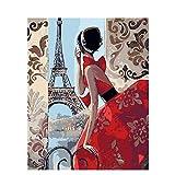 Cuadro para Pintar por Números Mujer Parisina para Adultos y Niños Pintar en Lienzo Pintura Al Óleo, 40x50 cm (Sin Marco)