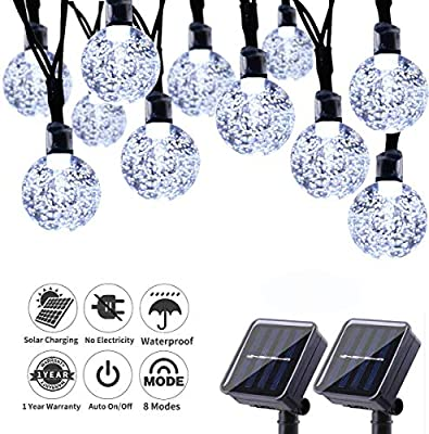 HONGFU18 Solar String Lights - 42.66 Feet 60 LED Outdoor Solar Lights with 8 Modes, Waterproof Crystal Ball String Lights for Wedding Christmas Camping RV Garden Patio Bistro Backyard