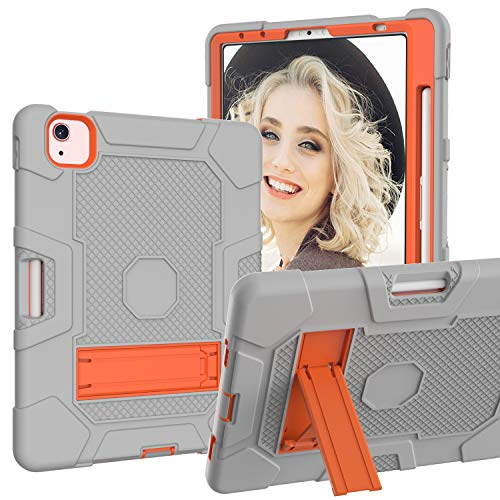 GoYi Case Compatible with iPad Air 4 10.9 Inch 2020, 360° Shockproof Anti-scratch Cover/PC + Silicone 3-In-1/Heavy Duty Tough Aromr/Kickstand for iPad Air 4th Generation-Gray/Orange