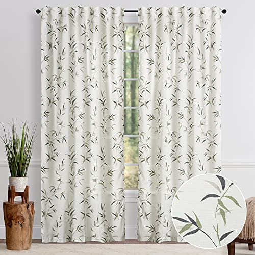 Chanasya 2-Panel Bamboo Print Soft Textured Light Filtering Curtain Panels - 3-in-1 Back Tab Rod Pocket Ring Tab - Semi Sheer Window Curtains for Living Room Bedroom Kitchen - 52 x 84 Inches - Beige