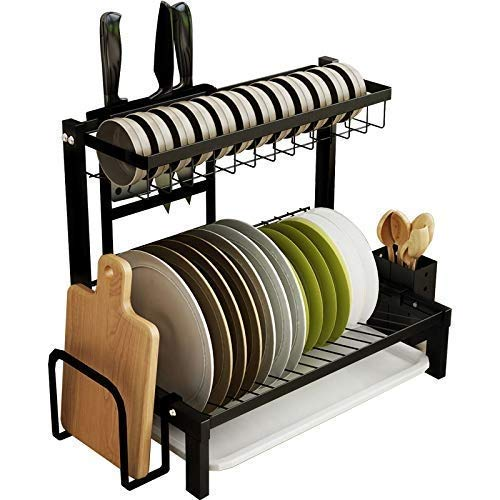 LHQ-HQ Kitchen shelf Stainless Steel Kitchen Shelf Black 2Layer Dish Rack With Chopping Board Shelf, Chopstick Holder