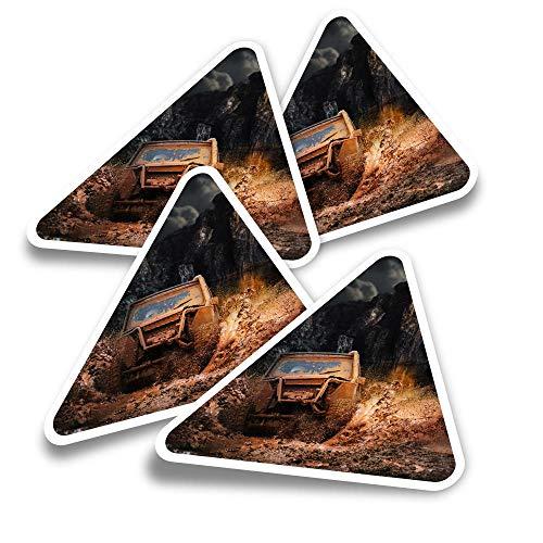 Pegatinas triangulares de vinilo (juego de 4) – Off Roading Quad ATV Dirt Car Fun Calcomanías para ordenadores portátiles, tabletas, equipaje, reserva de chatarra, neveras #12631