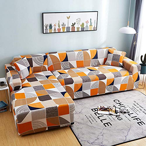 Fsogasilttlv Funda Sofa 4 Seater,Lattice Printed L Shape Sofa Covers, Sofa Protector Anti-Dust Elastic Stretch Covers R 235-300cm(1pcs)