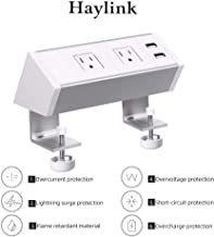 Haylink Surge Protector Power Desk Strip UL Approval Clamp Desktop Sockets with 2 USB Ports 2 Outlets Mount Multi-Outlets Home Office Public Table Removable Outlet Easy Installation Aluminium (White)