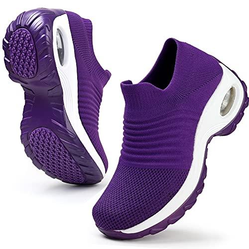 HKR Laufschuhe Leichte Sneaker Slip on Sportschuhe für Damen Violett/37 EU