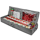 Whitmor Christmas Storage Organizer – Durable 600D Material - Spacious Under Bed Holiday Wrapping Paper Storage Container, Storage for Gift Wrapping, Bags, Ribbon, and Bows – Fits up to 40' Rolls