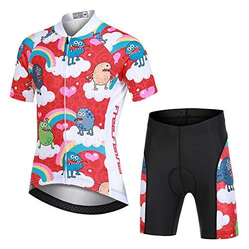 YFPICO Kinder Radtrikot Set Bekleidung Jungen Mädchen Fahrrad Trikot Kurzarm + Radhose mit Sitzpolster, Cartoon(Set), 104/110