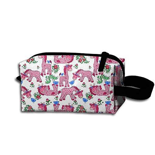 Travel Makeup Giraffe Pink Bow Blue Cartoon Beautiful Waterproof Cosmetic Bag Quick Makeup Bag Pencil Case