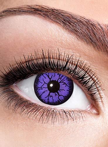 Purple Witch Kontaktlinse mit Dioptrien - farbige Motivlinse mit Sehstärke - Dioptrien: -3,5 - ideal für Halloween, Karneval, Motto-Party