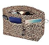 Vercord Purse Organizer Insert Bag Tote Handbags Pocketbook Inserts Organizers Zipper 11 Pockets Leopard Small