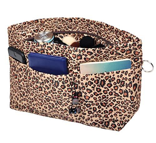 Vercord Purse Organizer Insert Bag Tote Handbags Pocketbook Inserts Organizers Zipper 11 Pockets Leopard Large