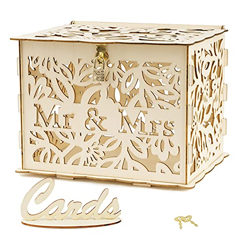 ABSDON Wedding Card Box Rustic Wooden Gift Card Boxes with Lock and Slot for Wedding Reception Party Supplies (Ms & Mrs)