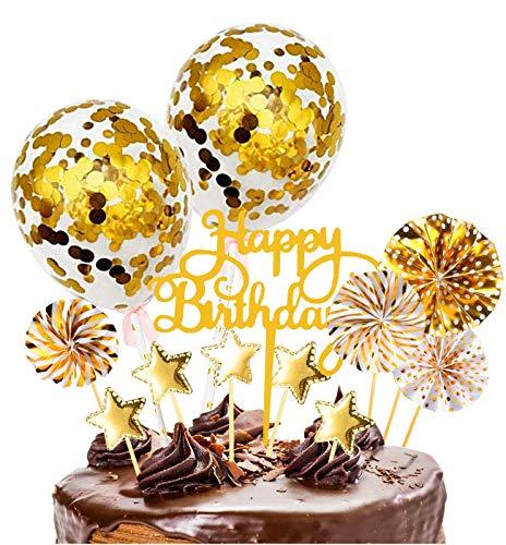 Xinmeng Oro Decoración para Tartas Torta Toppers de Cumpleaños Cumpleaños Cupcake Toppers Abanicos de Papel Globos Confeti Cupcake Topper para Oro Tema Partido Tartas de Decoración.(Oro)
