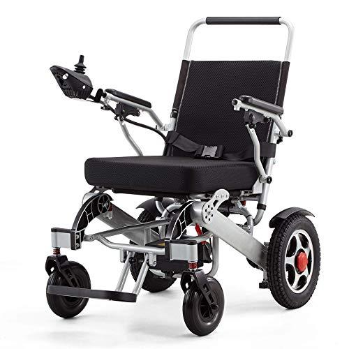 Alqn Silla de ruedas eléctrica, Silla de ruedas eléctrica plegable multifunción de aleación de aluminio ligero, 20Ah250W Palanca de control de dirección de 360 ° con motor dual 360 °, Adecua