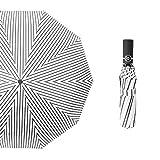 Ysakura inkl. Schirm-Tasche Reise-Etui,Vollautomatischer dreifacher Regenschirm, faltender Sonnenschirm-Schwarze Streifen auf Weiß,Regenschirm Mini, leicht klein und kompakt windsicher