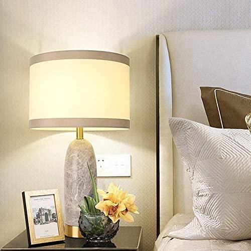 CMMT Lámpara de escritorio moderna minimalista lámpara de mesa de lujo sala de estar dormitorio estudio luz de lectura 36 * 36 * 65 cm tela mármol