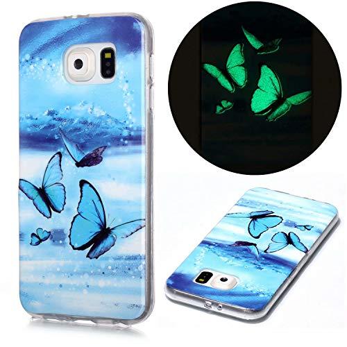 Miagon Leuchtend Luminous Hülle für Samsung Galaxy S7 Edge,Fluoreszierend Licht im Dunkeln Handyhülle Silikon Case Handytasche Stoßfest Schutzhülle,Blau Schmetterling