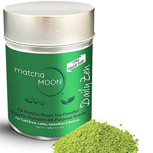 Matcha Green Tea Powder Organic - Japanese Premium All-purpose Cafe Grade - Uji, Kyoto Japan - Energy, Antioxidants - Best for Lattes, Cold Brew, Smoothies, Baking - Matcha Moon - Value Size 100g Tin