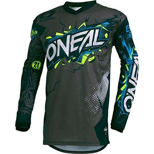 O'NEAL | Camiseta de Motocross Manga Larga | MX MTB Mountainbike Enduro | Almohadillas para coser en el codo, cuello en V, material transpirable | Element Youth Jersey Villain | Niños | Gris | Talla S
