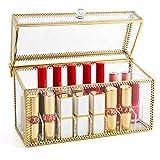 PuTwo Lipstick Organizer 24 Slots Handmade Glass and Brass Lipstick Holder with Lid Lip Dustproof Gloss Organizer Vintage Transparent Lip Gloss Display Decoration for Dresser Countertop