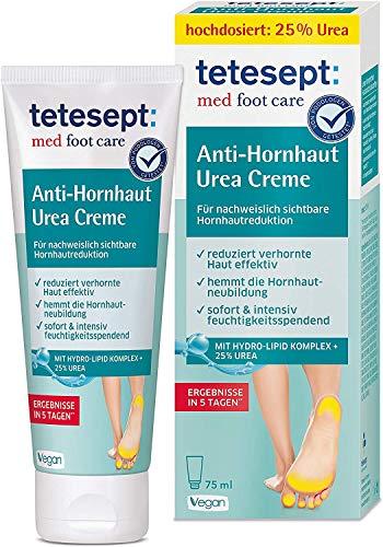 tetesept med foot care Anti-Hornhaut Urea Creme – Fußcreme mit Hydro-Lipid Komplex und 25% Urea – Fußsalbe zur effektiven, sichtbaren Reduktion von Hornhaut – 1 x 75 ml