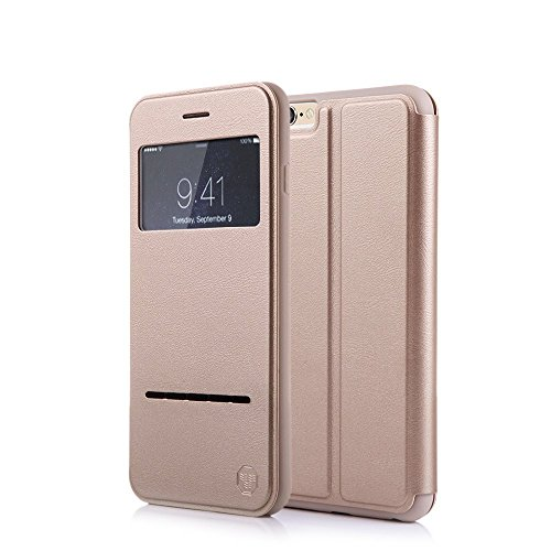 Nouske iPhone 6 Custodia Cover,iPhone 6S Custodia Cover,4.7 Pollici S View Flip Book Protective Slim Standing Case,d'oro